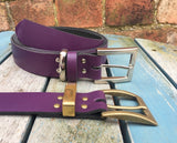 "Leather Belt with 'Square West End' Buckle 1 1/8"" Wide. Available in a choice of colours."