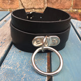 Leather 60mm D & O-Ring Strap Collar Choker. Choice of colours, Handmade
