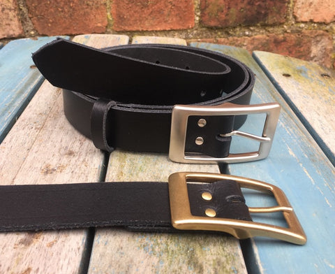 "Leather Belt with 'Tess' buckle 1 1/8"" Wide. Available in a choice of colours."