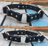 Triple O-Ring or Heart Ring Leather Choker