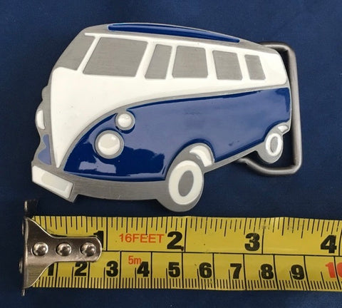 Blue Camper Van - Metal Belt Buckle