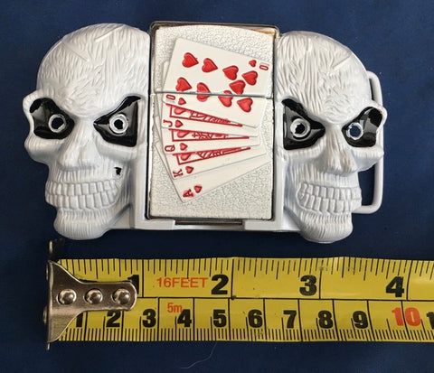 White Skulls with Lighter - Metal Belt Buckle