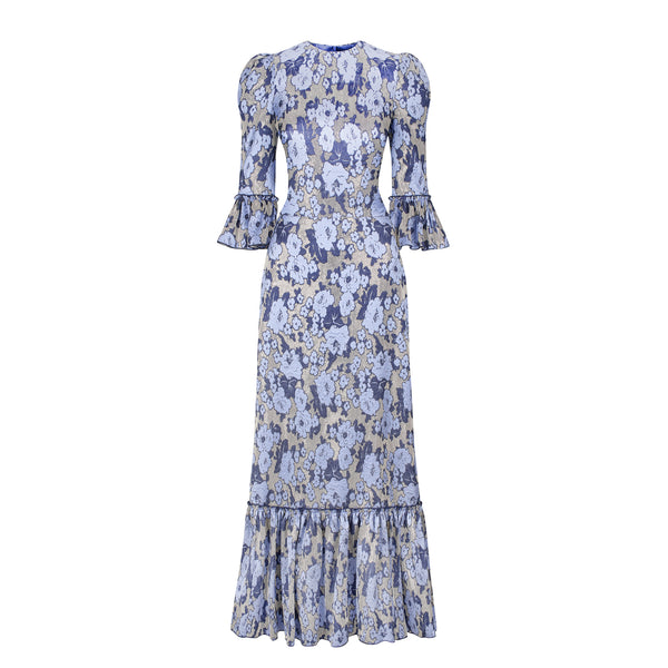 THE FESTIVAL BLUE AND SILVER METALLIC FLORAL DRESS