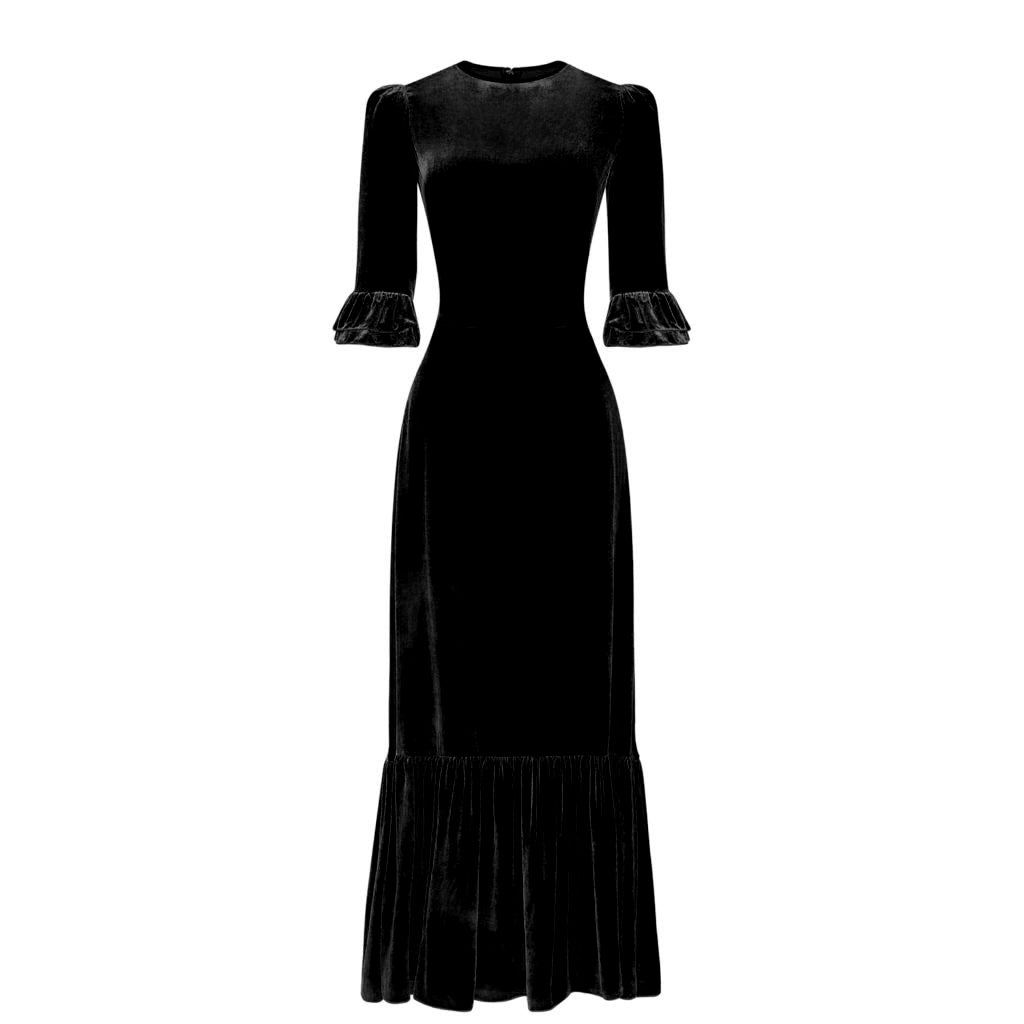 MIDNIGHT BLACK VELVET 3/4 FESTIVAL DRESS