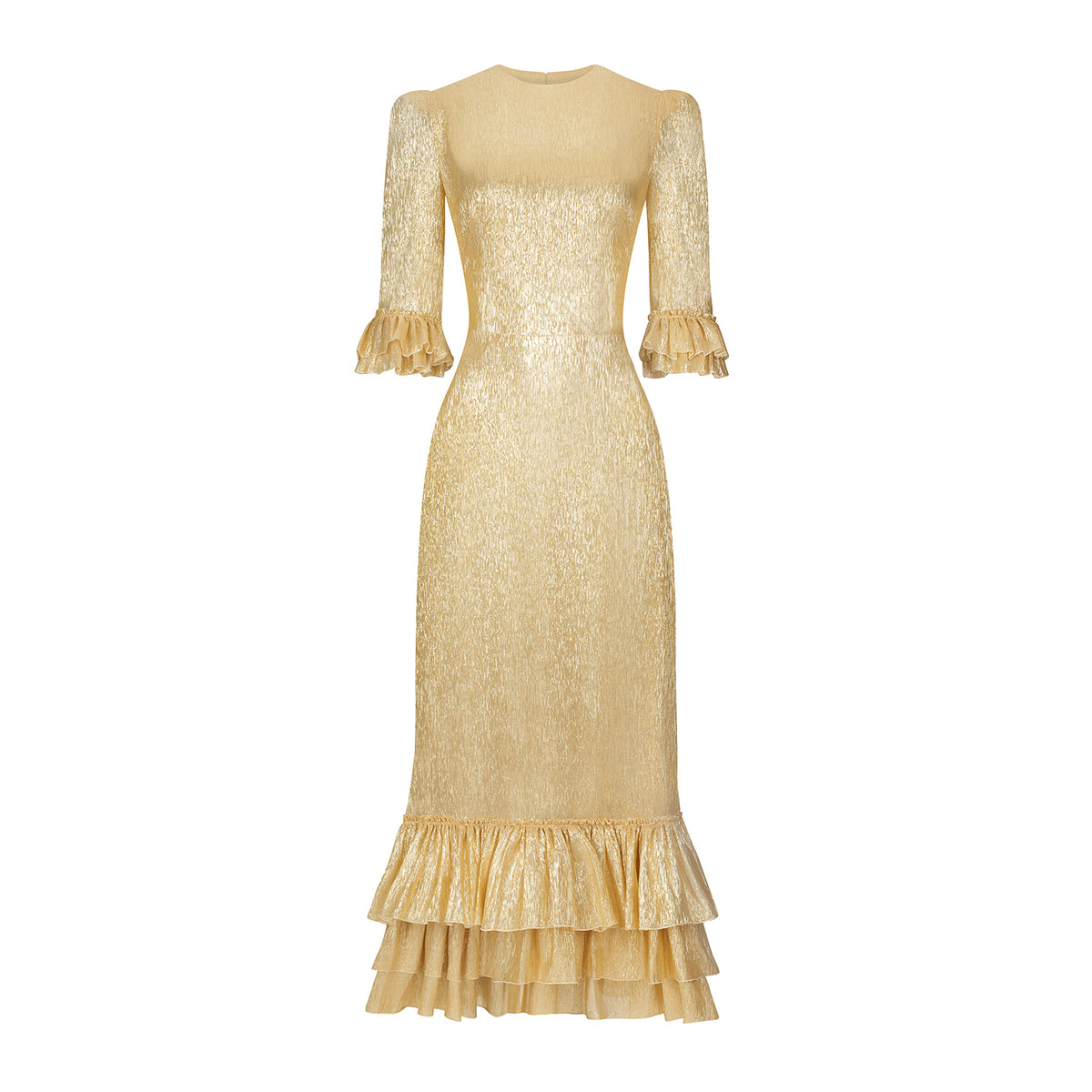 THE CINDERELLA GOLD METALLIC SILK DRESS