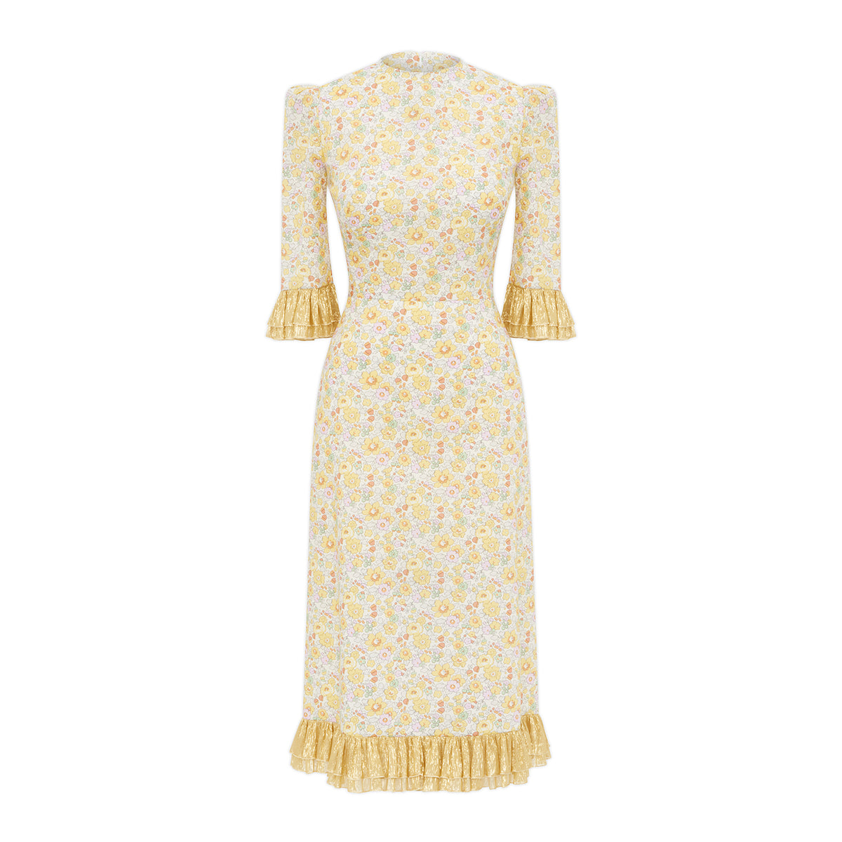Yellow Liberty And Gold Metallic Chiffon Dress