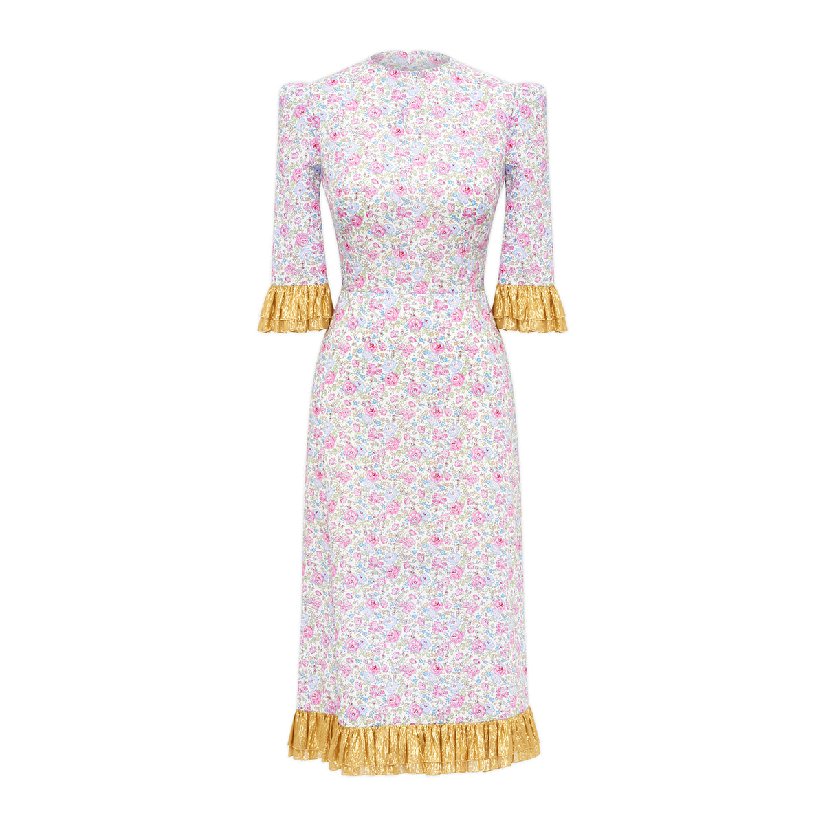 Pink Liberty And Gold Metallic Chiffon Dress