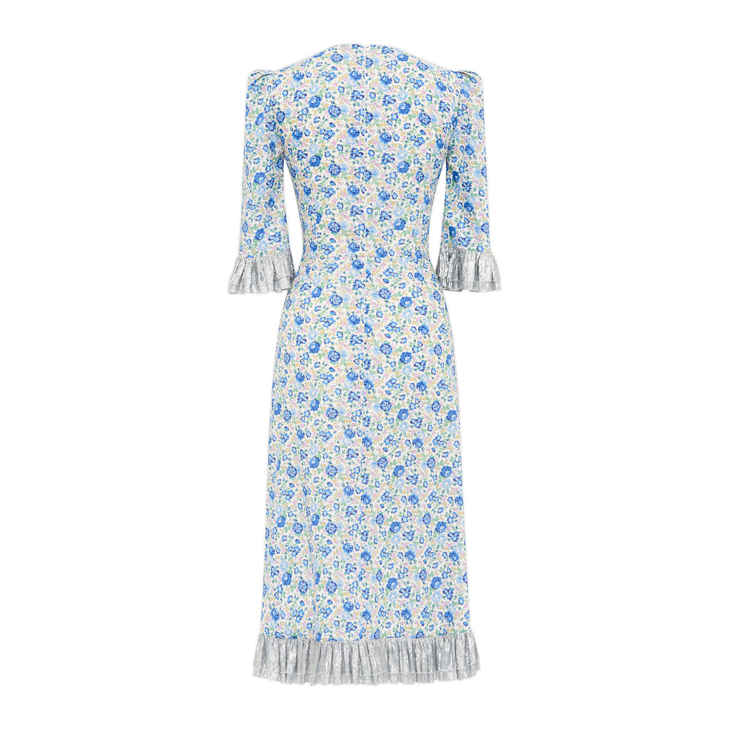 BLUE FLORAL AND SILVER METALLIC COTTON DRESS