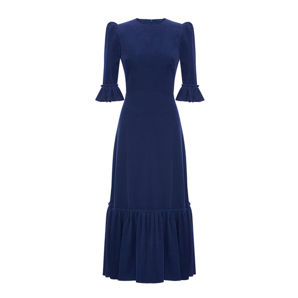 THE MIDNIGHT BLUE BABY CORDUROY FESTIVAL DRESS