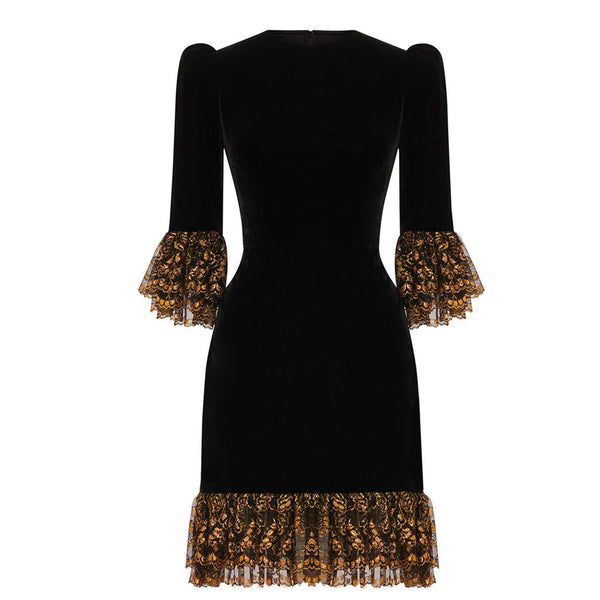 THE BLACK VELVET AND GOLD LACE MINI PRISCILLA DRESS