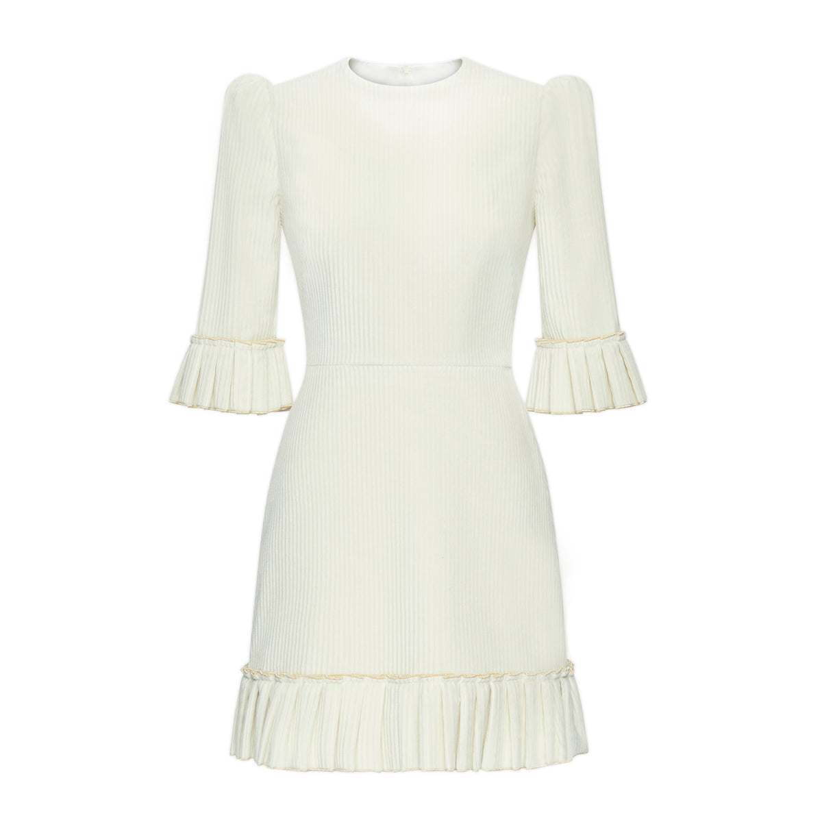 THE IVORY JUMBO CORDUROY MINI FESTIVAL DRESS