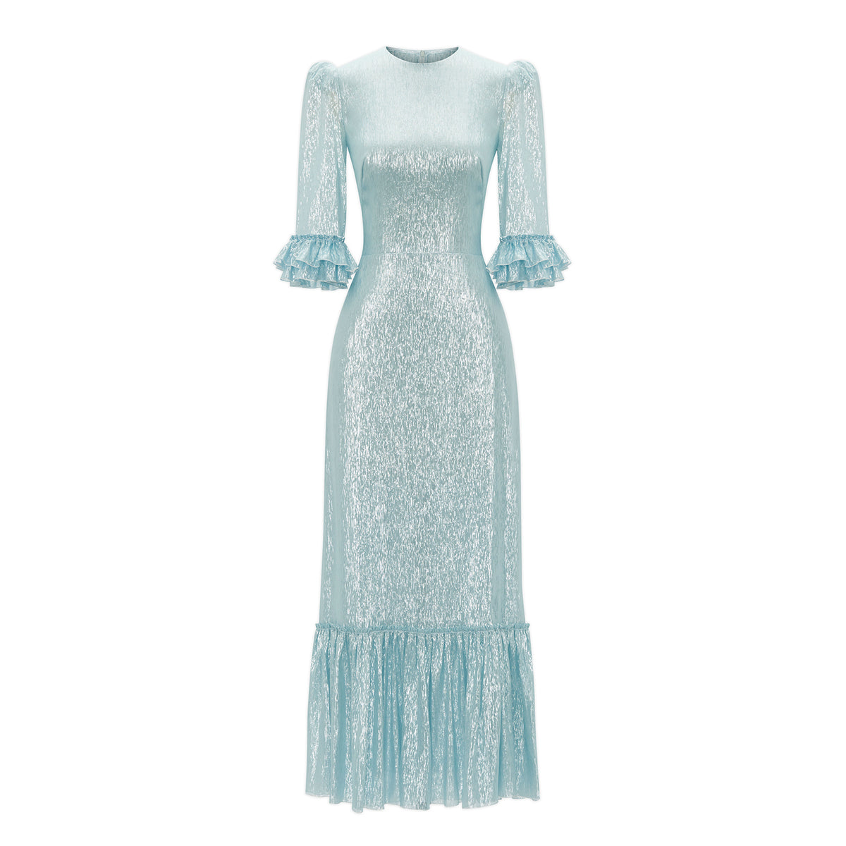 PALE BLUE METALLIC SILK FESTIVAL DRESS