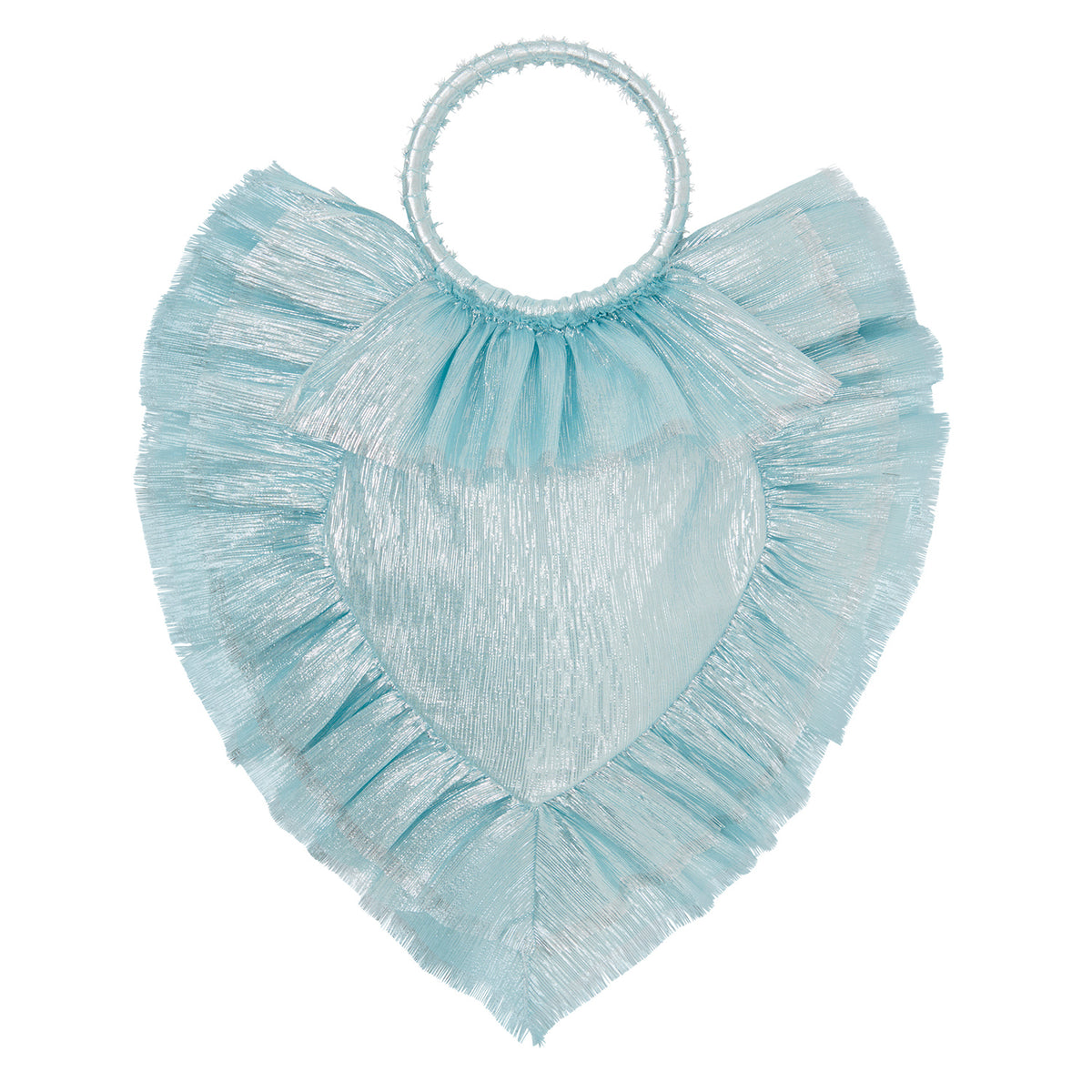 THE PALE BLUE METALLIC SILK SACRED HEART BAG