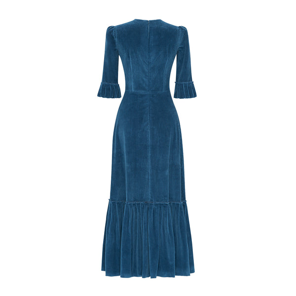 THE STORM BLUE CORDUROY FESTIVAL DRESS