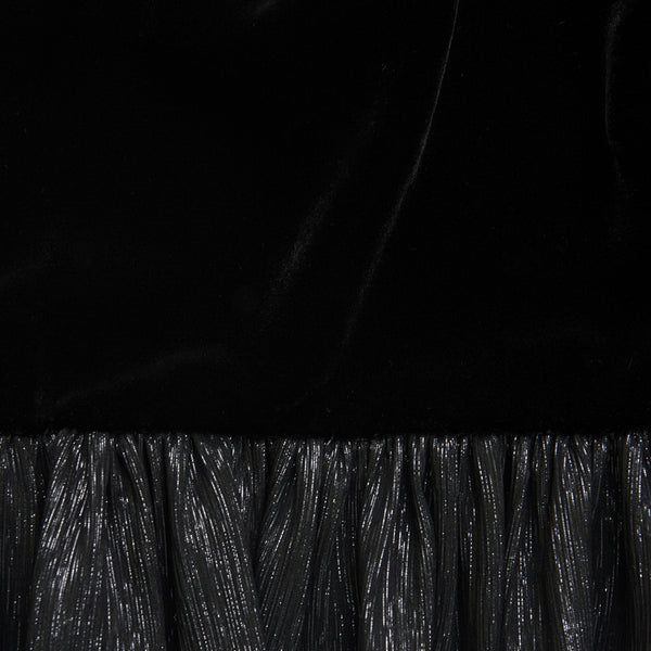 THE FALCONETTI BLACK VELVET AND METALLIC SILK DRESS