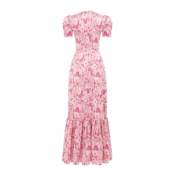 THE JUNO PINK AND SILVER METALLIC FLORAL DRESS
