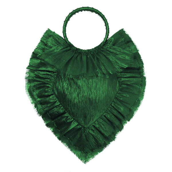 THE EMERALD METALLIC SILK SACRED HEART BAG