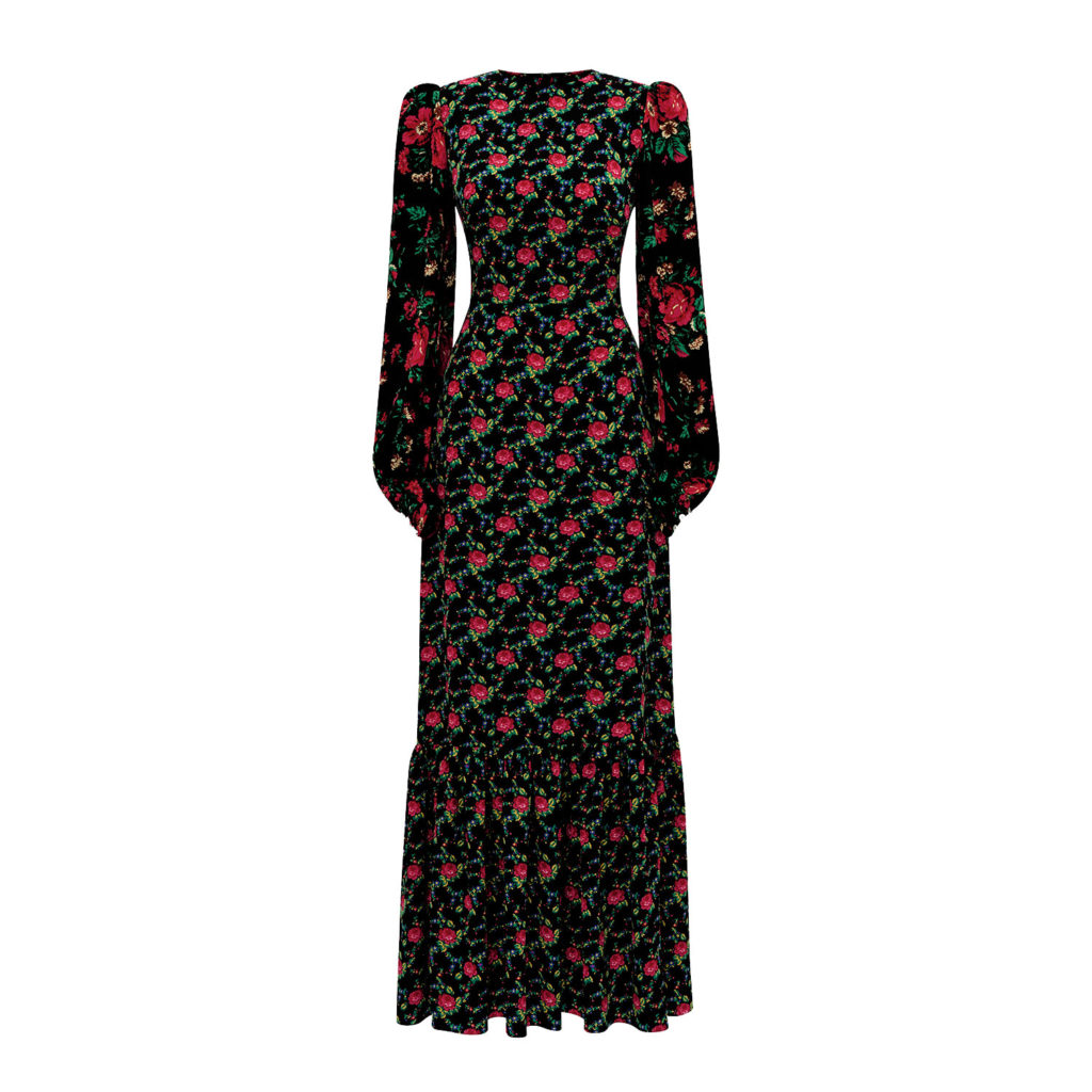 THE WILD ROSE GYPSY CRÊPE TEA DRESS