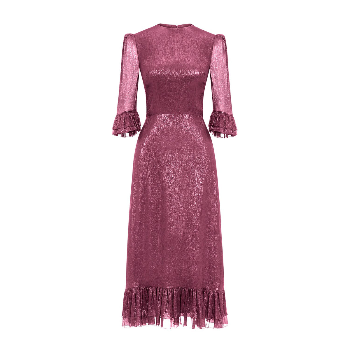 THE FALCONETTI PINK METALLIC SILK DRESS