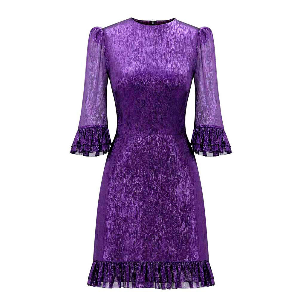 DEEP PURPLE METALLIC SILK MINI FESTIVAL DRESS