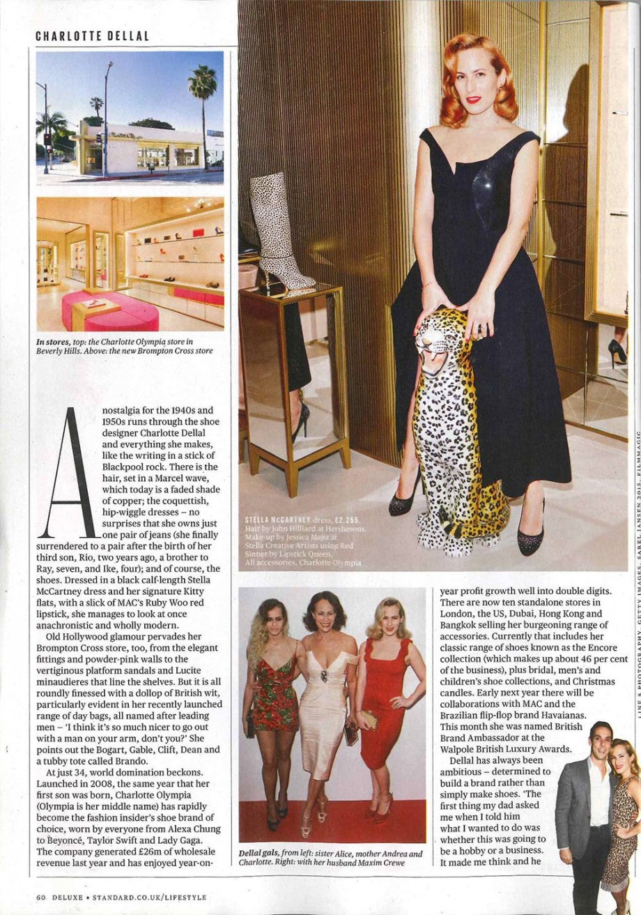 Charlotte Dellal in the Evening Standard