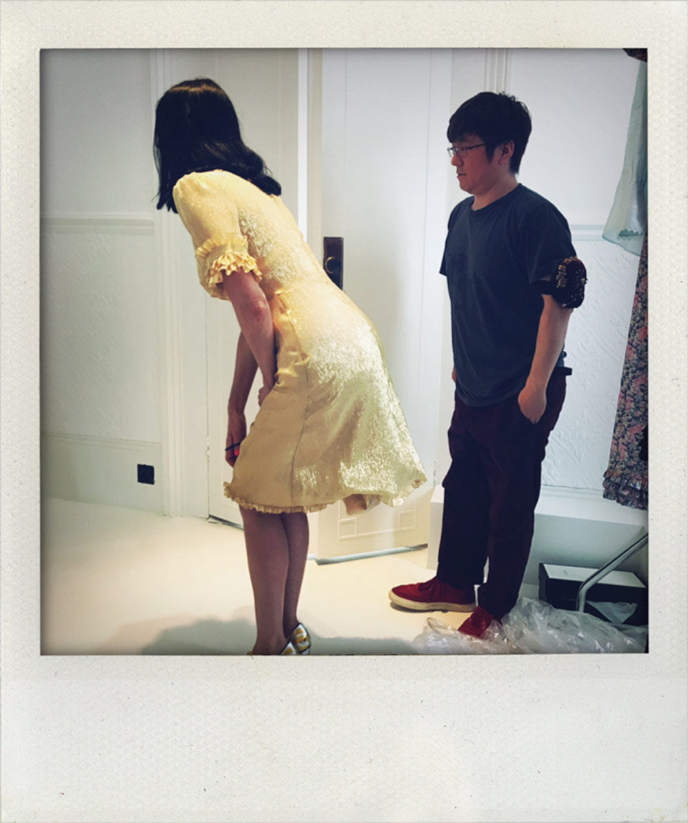 Susie Cave wears the Gold Lame Knee Length Party Dress