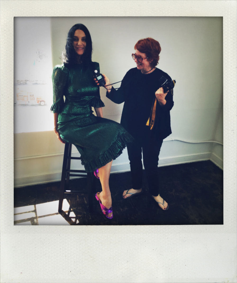 Polly Borland and Susie in L.A. doing Vogue photo shoot.