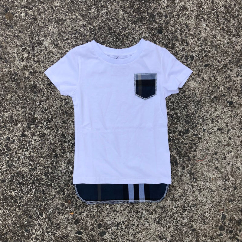 Checked Tall Tee - White