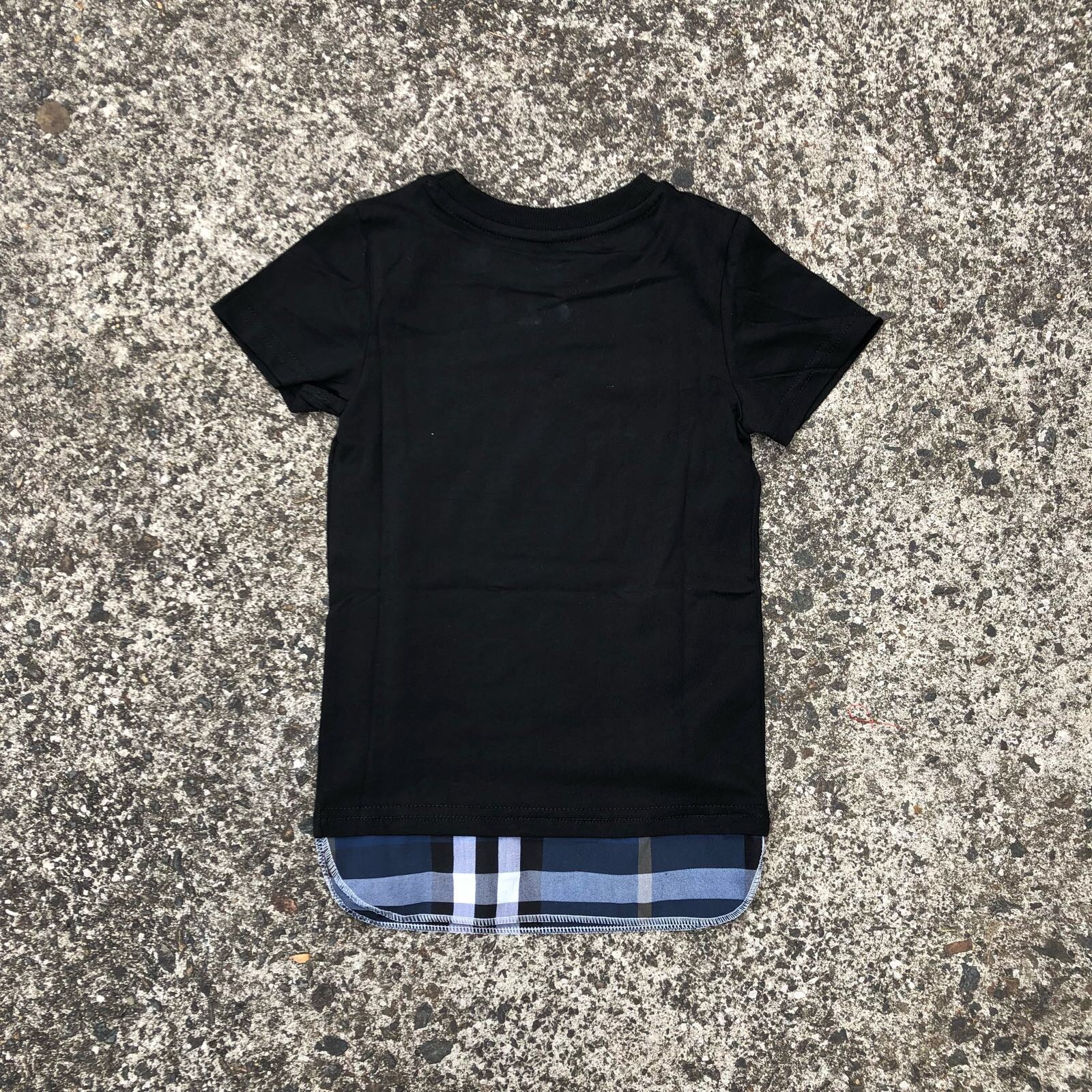 Checked Tall Tee - Black