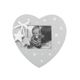 GREY & WHITE STAR HEART PHOTO FRAME - A Pinch of Love Gifts