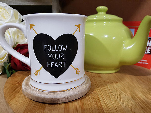 "Ceramic Mug ""Follow Your Heart"" - A Pinch of Love Gifts"