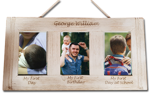 3 photo engraved photo frame personalised gift