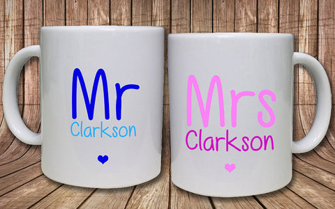 Mr & Mrs Personalised Mugs - A Pinch of Love Gifts