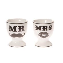 "Load image into Gallery viewer, Ceramic Egg Cups ""Mr & Mrs"" - A Pinch of Love Gifts"