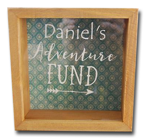 adventure fund money saving box personalised