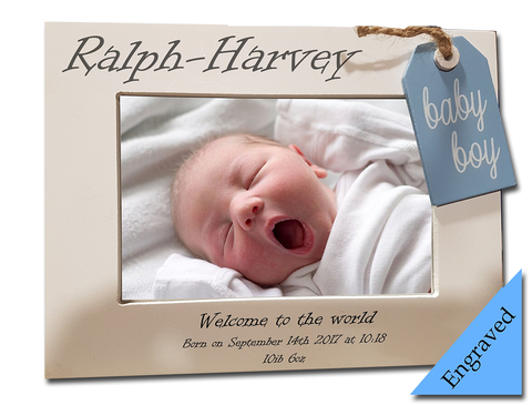 baby boy engraved photo frame