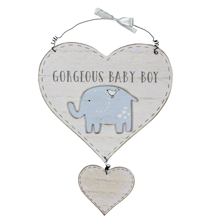 Baby Boy Heart Plaque