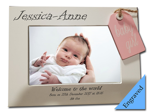 Baby Girl Engraved Photo Frame - A Pinch of Love Gifts