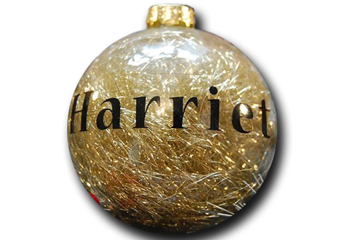 Personalised Gold Tinsel Bauble