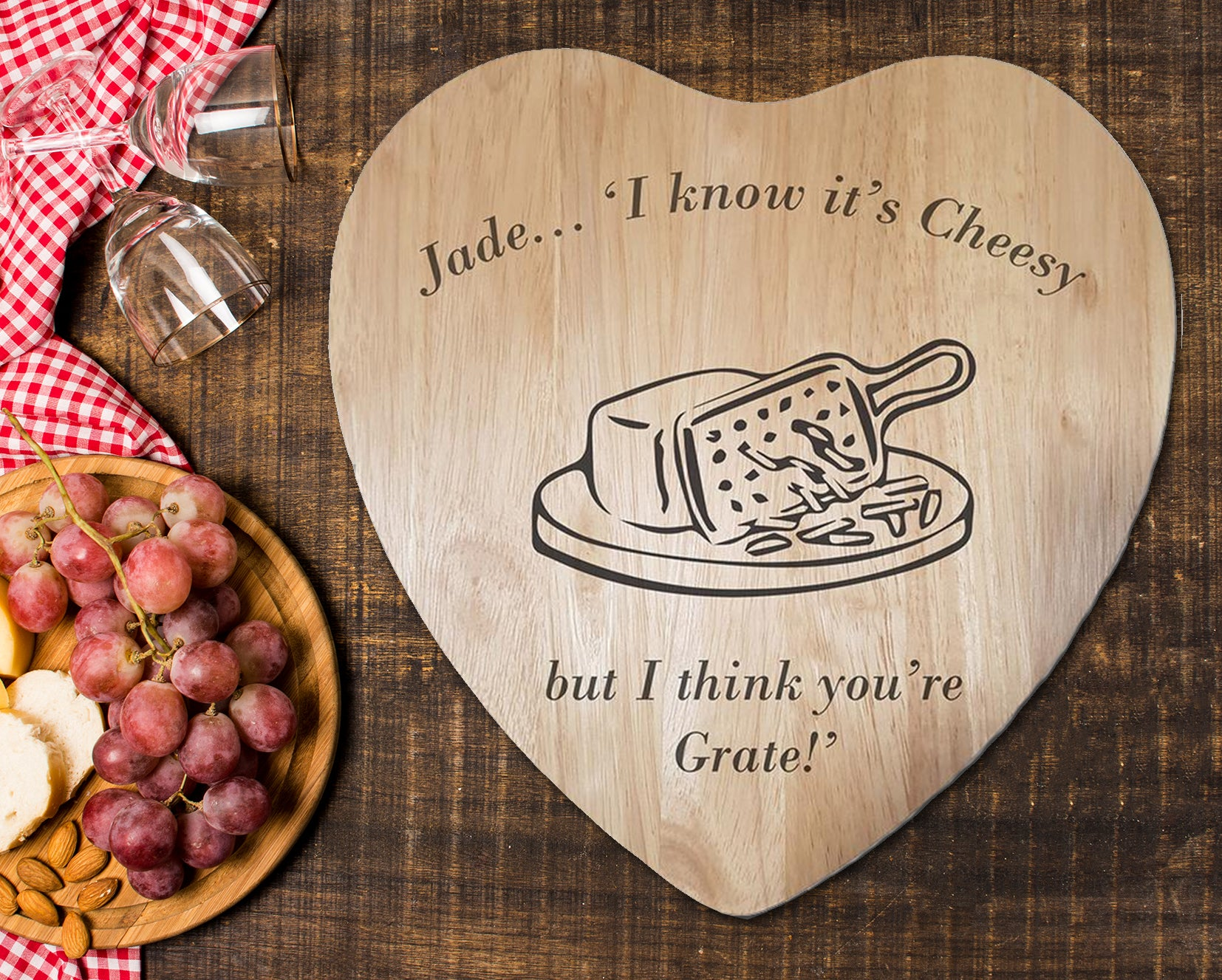 "Engraved ""I think you're grate"" Chopping Board - A Pinch of Love Gifts"