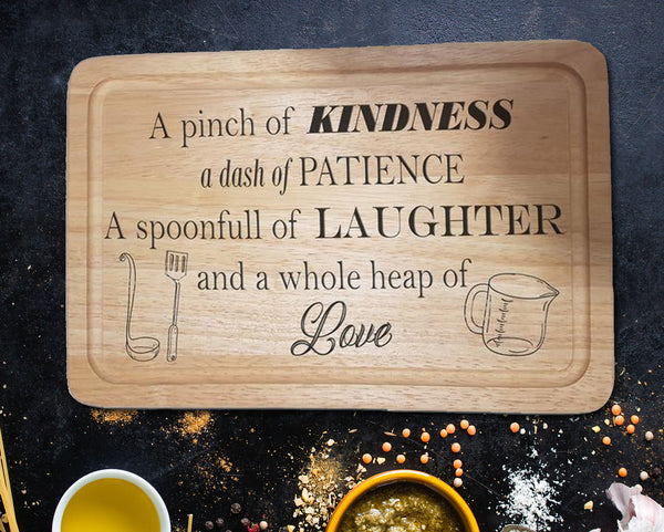 "Engraved ""Kindness, Patience, Laughter"" Chopping Board - A Pinch of Love Gifts"
