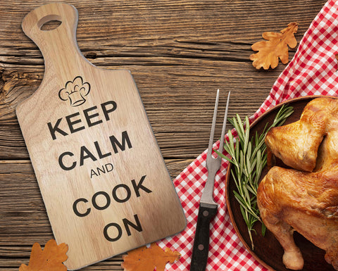"Engraved ""Keep calm and cook on!"" Chopping Board - A Pinch of Love Gifts"