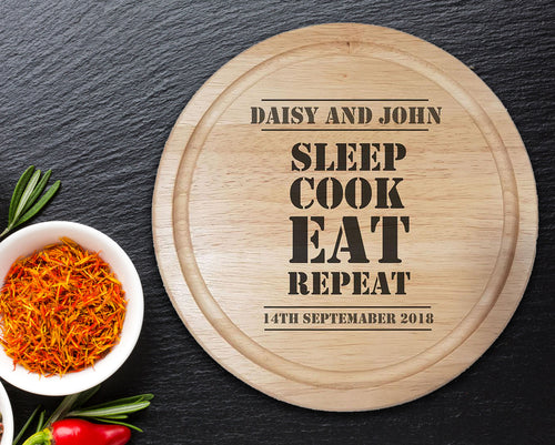 Sleep, Cook, Eat, Repeat Personalised Chopping Board - A Pinch of Love Gifts