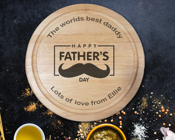 Father's Day Mustache Chopping Board - A Pinch of Love Gifts