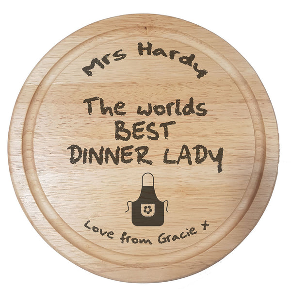 World's Best Dinner Lady Chopping Board - A Pinch of Love Gifts