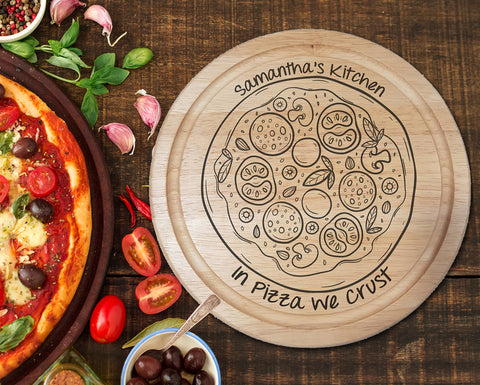 "Engraved ""In Pizza we crust"" Chopping Board - A Pinch of Love Gifts"