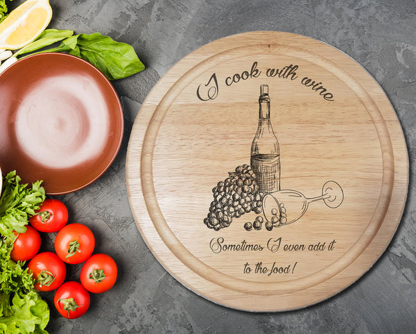 "Engraved ""Cook with wine"" Chopping Board - A Pinch of Love Gifts"