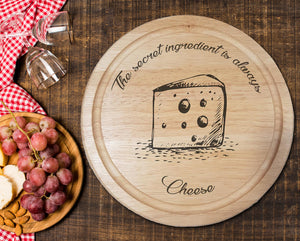"Engraved ""The secret ingredient is always Cheese!"" Chopping Board - A Pinch of Love Gifts"