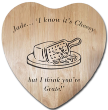 "Load image into Gallery viewer, Engraved ""I think you're grate"" Chopping Board - A Pinch of Love Gifts"