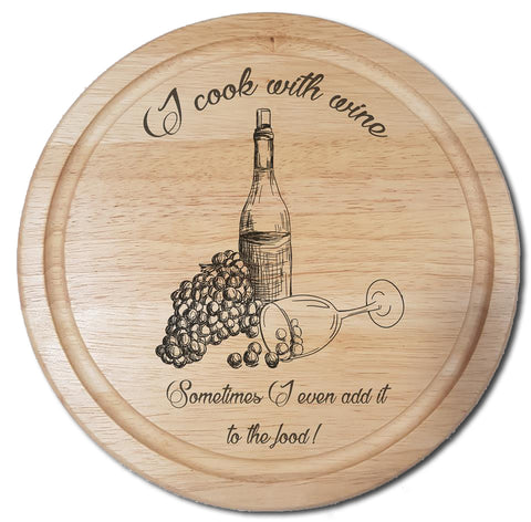 Cook with wine personalised laser engraved chopping board gift